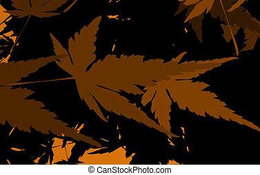 herfst, floral, meisje, silhouette
