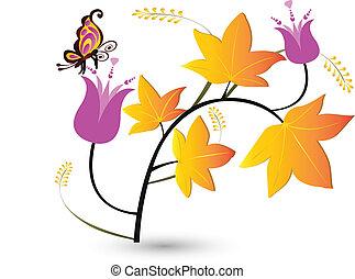 herfst, floral, vlieg, achtergrond