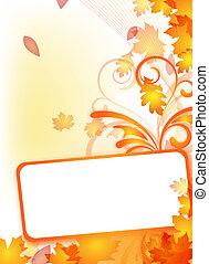 herfst, flyer, met, tekst, frame