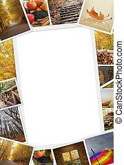 herfst, foto's, kopie, verzameling, ruimte