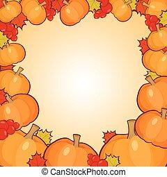 herfst, frame, achtergrond, grens, pompoennen