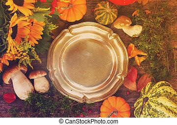 herfst, frame, met, schaaltje