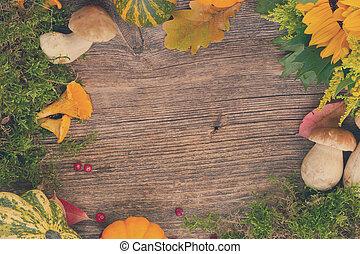 herfst, frame, op, hout
