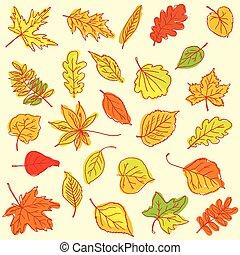 herfst, freehand, bladeren, tekening, artikel