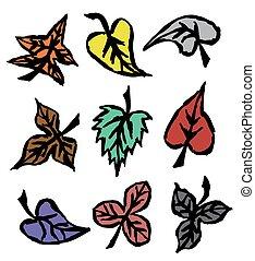 herfst, getrokken, bladeren, grunge, hand