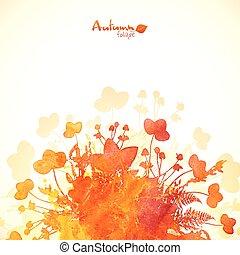 herfst, geverfde, bladeren, watercolor, achtergrond, sinaasappel