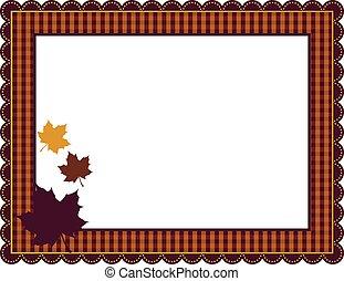 herfst, gingham, frame