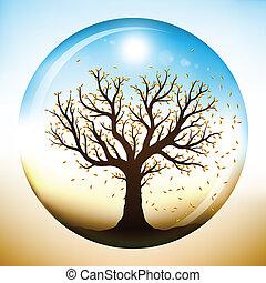 herfst, glas, binnen, boompje, globe
