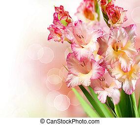 herfst, grens, bloemen, ontwerp, gladiolen