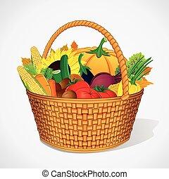 herfst, groente, vruchten, oogst