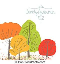 herfst, groep, bomen