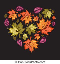 herfst, heart.