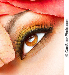 herfst, herfst, closeup, makeup., make-up