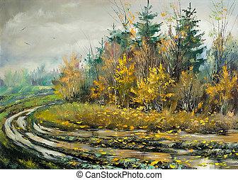 herfst, hout, straat, impassable