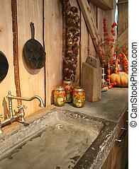 herfst, in, keuken