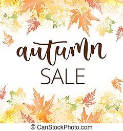 herfst, inscriptie, geschreven, verkoop, hand