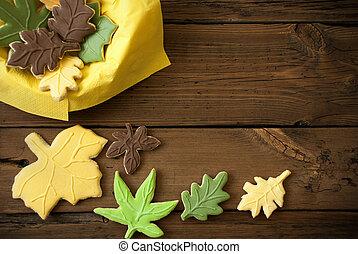 herfst, koekjes, op, houten, achtergrond