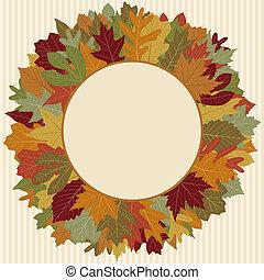 herfst, krans, blad