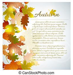 herfst, langzaam verdwenen, bladeren, concept