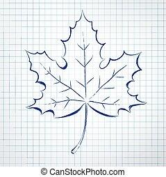 herfst, leaf., notepad, sketch.