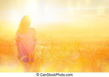 herfst, meisje, het genieten van, field., natuur