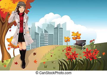herfst, meisje