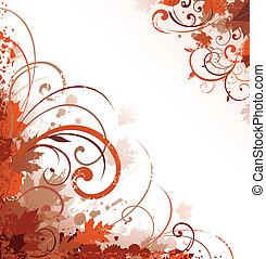 herfst, ontwerp, ornament, boekrol