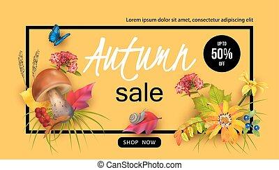 herfst, ontwerp, verkoop