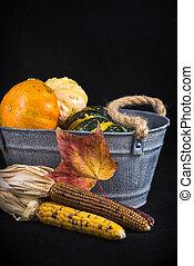 herfst, oogsten, achtergrond, met, pompoennen