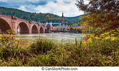 herfst, oud, gebladerte, heilig, rivier, neckar, duitsland, theodor, carl, kerk, incluis, geest, aanzicht, heidelberg, brug, rood