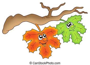 herfst, paar, bladeren, tak