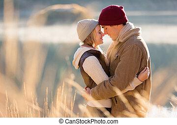 herfst, paar, hartelijk, jonge, morgen