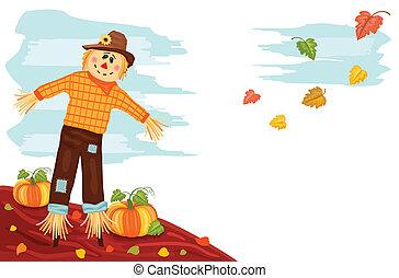 herfst, -, pompoen, en, vogelverschrikker