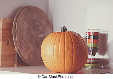 herfst, pompoen, op, een, tafel, in, keuken