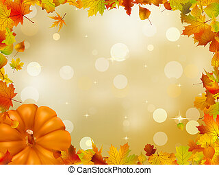 herfst, pompoennen, en, leaves., eps, 8