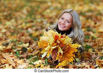 herfst, portret, vrouw, blad