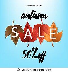 herfst, poster, verkoop