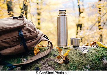herfst, schooltas, thermos, park.