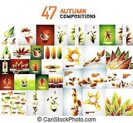 herfst, set, achtergronden, natuur