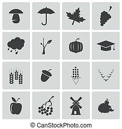 herfst, set, black , vector, iconen