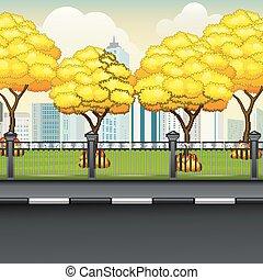 herfst, stad, achtergrond