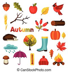 herfst, vastgesteld ontwerp, voorwerpen, pictogram