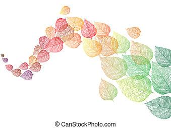 herfst, vector, bladeren