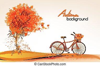 herfst, vector, boompje, achtergrond, bicycle.