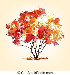herfst, vector, boompje, van, blots, achtergrond