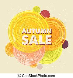 herfst, verkoop, met, cirkels, grunge, getrokken, etiket