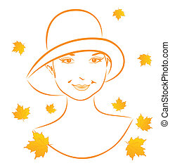 herfst, verticaal, abstract, meisje, gezicht