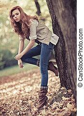 herfst, verticaal, vrouw, slank, jonge