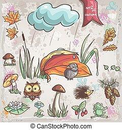 herfst, verzameling, met, beelden, van, vogels, dieren, fungus, bloemen, kegel, voor, children., set, 2.