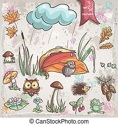 herfst, vogels, set, kegel, fungus, dieren, verzameling, bloemen, beelden, children., 2.